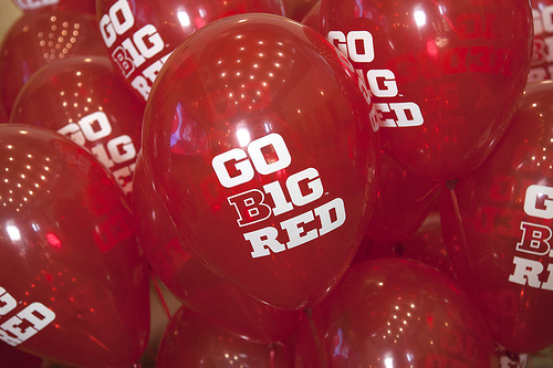 Go Big Red balloons filled the Van Brunt Visitors Center to help celebrate the day. Celebration to UNL's first day as a member of the Big Ten and the CIC. Photo by Craig Chandler / University Communications